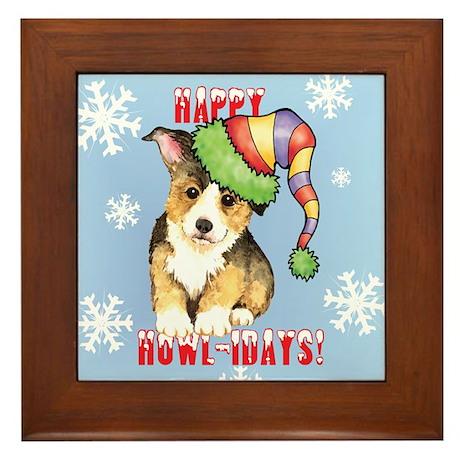 Holiday Corgi Framed Tile