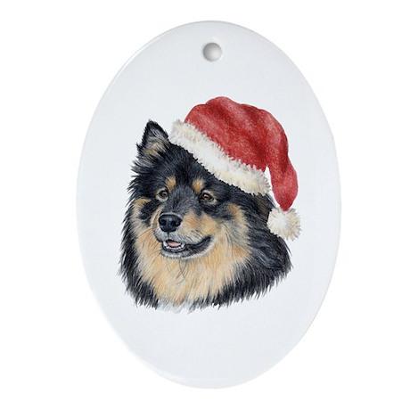 Christmas Finnish Lapphund Oval Ornament