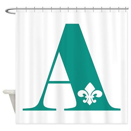 Initial with fleur de lis shower curtain by claverie