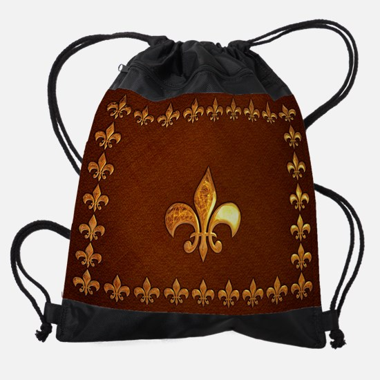Old Leather with gold Fleur-de-Lys Drawstring Bag