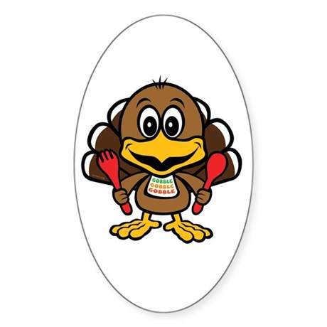 Funny Little Turkey Oval Decal By Giftcy
