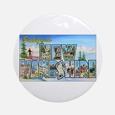 New Hampshire Greetings Ornament (Round)