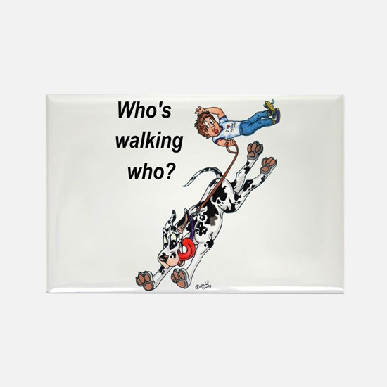 Who's walking who Rectangle Magnet