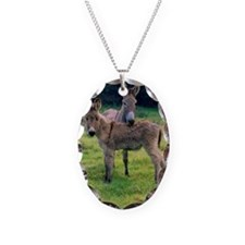 Mother and baby donkey in fiel Necklace