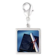 Graduation cap and diploma Silver Square Charm