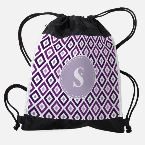 Purple Ikat Diamond Pattern Monogra Drawstring Bag