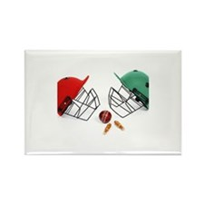 Two cricket helmets fac Rectangle Magnet (10 pack)