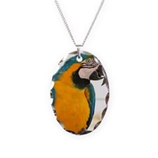 Colorful parrot Necklace Oval Charm