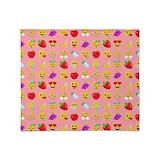 Baby pink emoji throw Fleece Blankets