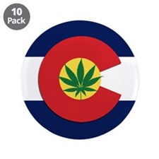 """Colorado State Pot Flag 3.5"""" Button (10 pack)"""