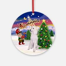 Santa's Take Off & Poodle (ST-W) Ornament (Round)
