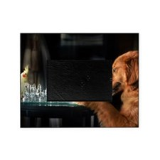 Golden retriever and bird play chess Picture Frame