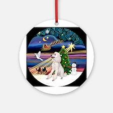 Xmas Magic & Poodle (ST-W) Ornament (Round)