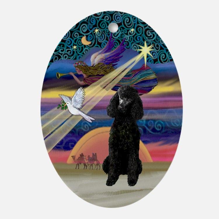 Xmas Star & Black Poodle (ST) Oval Ornament