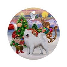 Treat for a Samoyed (stand) Ornament (Round)