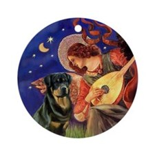 Mandolin Angel & Rottie (3) Ornament (Round)
