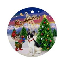 Santa's Take Off & Rat Terrier Ornament (Round)