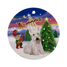 Santa's Take Off & White Scotty Ornament (Round)