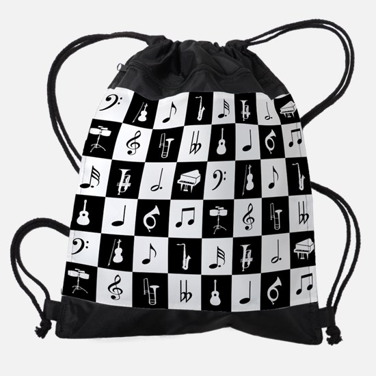 Stylish modern music notes and inst Drawstring Bag