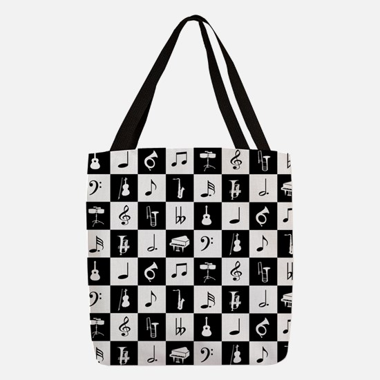 Stylish modern music notes and Polyester Tote Bag