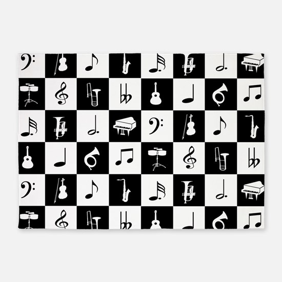 Stylish modern music notes and inst 5'x7'Area Rug