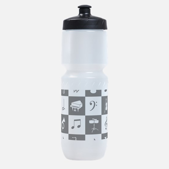 Stylish modern music notes and instr Sports Bottle