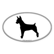 Rat Terrier Silhouette Oval Decal