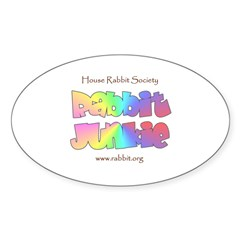 Rabbit Junkie Oval Decal