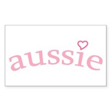 """Aussie with Heart"" Rectangle Decal"