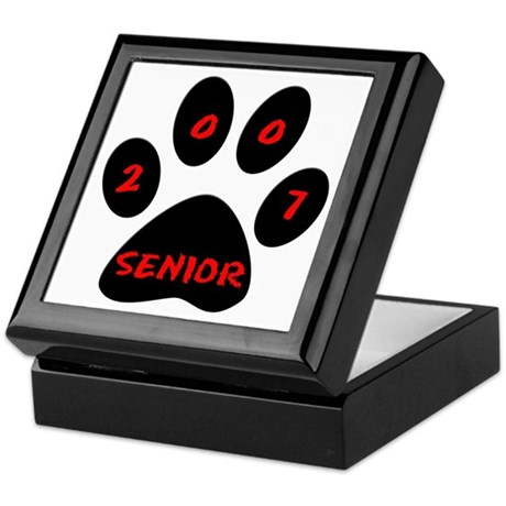 Black Paw Print Senior 07 Keepsake Box