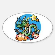 Dragon Cartoon Oval Decal