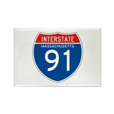 Interstate 91 - MA Rectangle Magnet