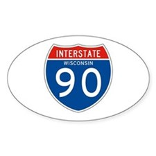 Interstate 90 - WI Oval Decal