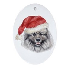 Christmas Keeshond Oval Ornament