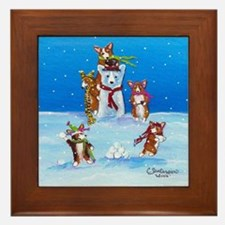 Snow Corgis III Framed Tile