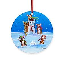 Snow Corgis III Ornament (Round)
