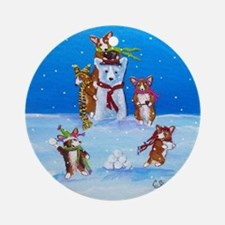 Snow Corgis III Ornament (Round)