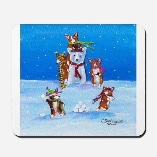 Snow Corgis III Mousepad