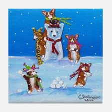 Snow Corgis III Tile Coaster