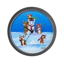 Snow Corgis III Wall Clock