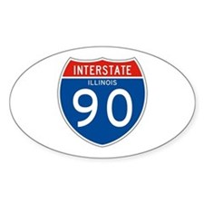 Interstate 90 - IL Oval Decal