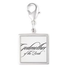 Godmother of the Bride Black Fancy Script Charms