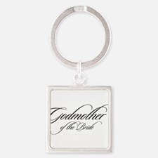 Godmother of the Bride Black Fancy Script Keychain