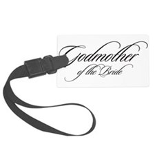 Godmother of the Bride Black Fancy Script Luggage
