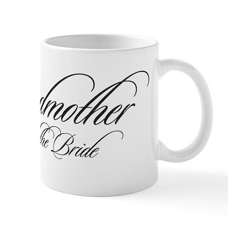 Godmother of the Bride Black Fancy Script Mug