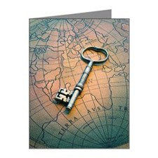 Antique key on world map Note Cards (Pk of 10)