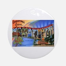 Massachusetts Greetings Ornament (Round)