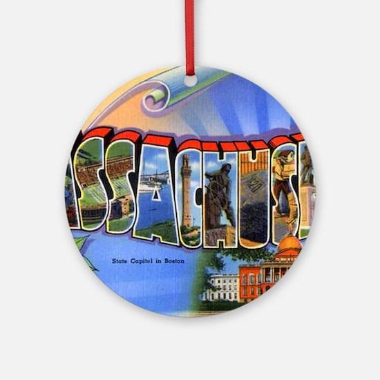 Massachusetts Greetings Ornament (Round)