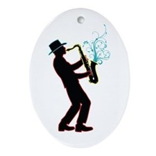 Saxophone Player Ornament (Oval)