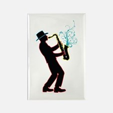 Saxophone Player Rectangle Magnet